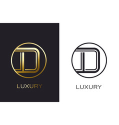 logo d monogram gold letter seal mockup elegant vector image