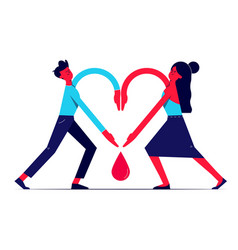 Man and woman holding hands together in shape of vector