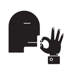 man kissing fingers black concept icon ma vector image