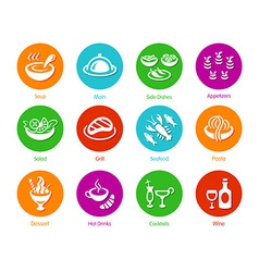 Menu round icons vector image