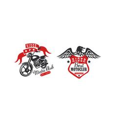 moto club retro logo templates set racer club vector image