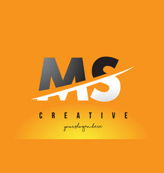 Ms m s letter modern logo design with yellow vector