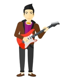 Musician playing electric guitar vector image