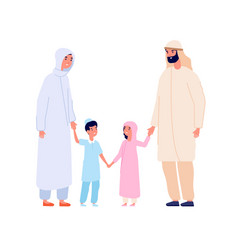 muslim arabic family arab kids islam mother vector image