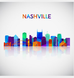nashville skyline silhouette in colorful vector image
