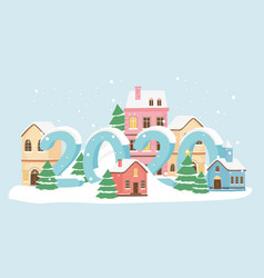 new year 2020 greeting card village houses snow vector image
