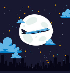 night flight airplane air transport carries vector image