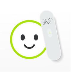 Non-contact digital thermometer on white and vector
