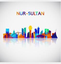 nur-sultan skyline silhouette vector image