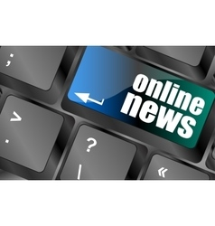Online news button on computer keyboard key vector
