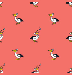pelicans and fish living coral background vector image