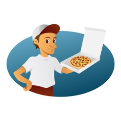pizza delivery man vector image vector image