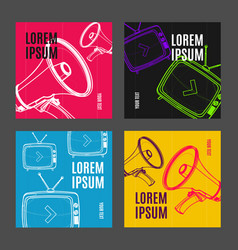 placard poster or flyer template set with vector image