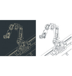 Robotic arm for automated production lines vector