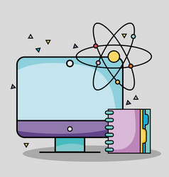 Screen computer with notebook and atom school vector