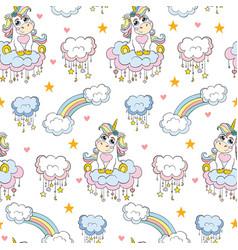 Seamless pattern cute baby unicorn white vector