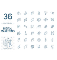 seo and digital market analytics isometric line vector image