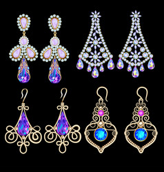 set jewelry earrings with precious stones vector image