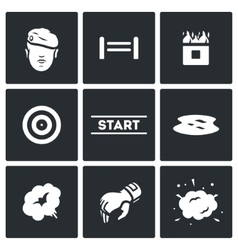 Set of Military Training Camp Icons vector