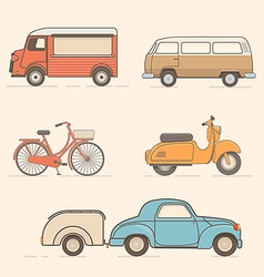 Set of retro transport vector image
