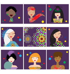 set with woman faces vector image