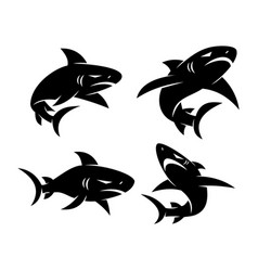 Shark aggressive logo design set template vector