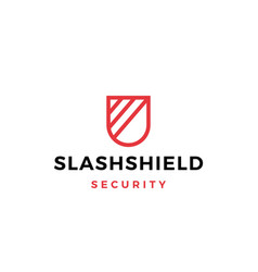 Slash shield logo icon vector