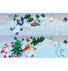Snowmen living in magic forest morning vector image