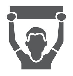 Soccer fan glyph icon sport and person football vector
