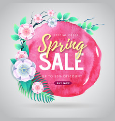 Spring sale watercolor poster with full blossom vector
