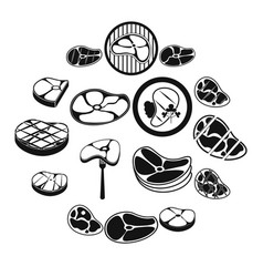 steak icons set simple style vector image