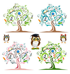 Study the tree and cheerful owls set vector