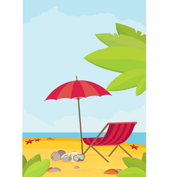 Summer holidays flat design beach and parasol vector