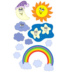 Sun moon and weather collection vector