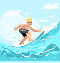 surfer chatacter surfboard ride water sea ocean vector image