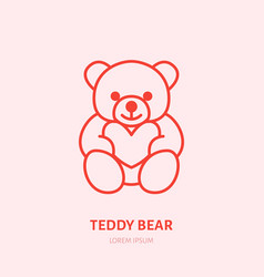 teddy bear plush flat line icon toy vector image