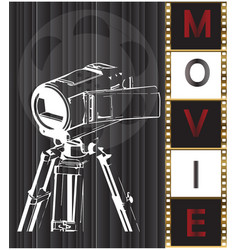the camera on a black background and film vector image