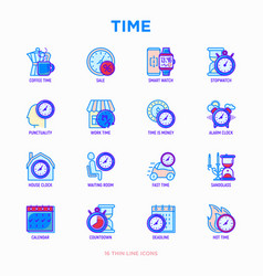 time thin line icons set vector image