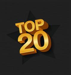 Top twenty golden words vector