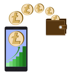 Transfer litecoin coins from phone in the wallet vector
