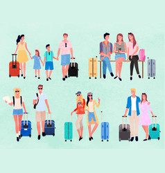 travelers or tourists characters with luggage set vector image