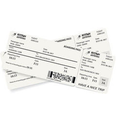 Two boarding pass tickets in gray colors vector