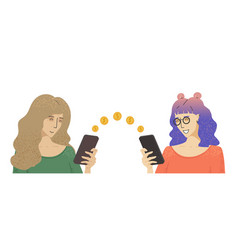 two women holds a phone and falling money vector image