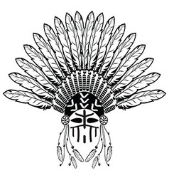 Warrior with Headdress with plain feathers vector