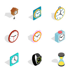 watches icons isometric 3d style vector image