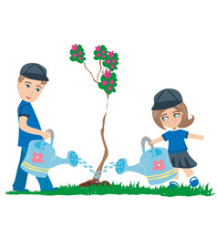 Watering the tree vector