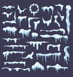 winter snow icicle frosted icy blue borders vector image