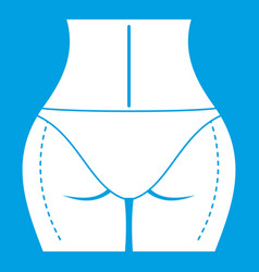 Woman buttocks prepared to plastic surgery icon vector