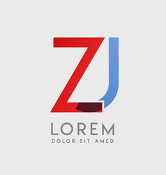 zj logo letters with blue and red gradation vector image