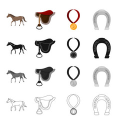 A horse a saddle for a rider a reward in races vector